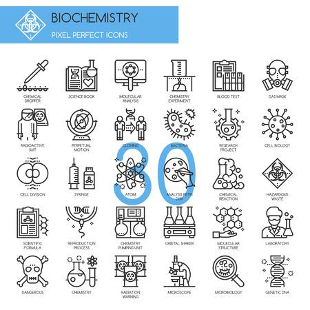 Bioquímica iconos, iconos de líneas finas establecidos, Pixel Perfect Iconos Ilustración de vector
