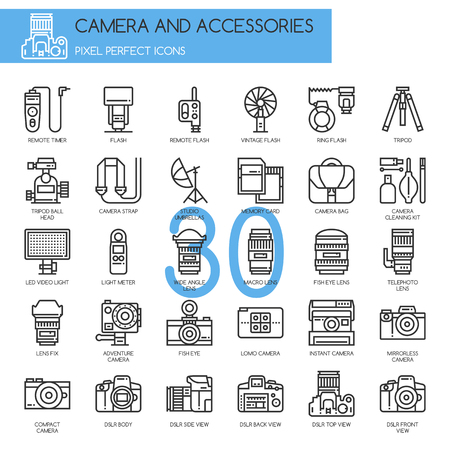 Camera and Accessories Icon, Thin Line Icons Set , Pixel Perfect Icons