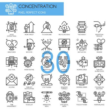 Concentratie op het Werk Icon, Thin Line Icons Set, Perfect Pixel Icons Stock Illustratie
