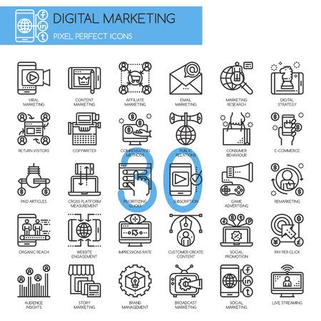 デジタル マーケティング、薄いラインのアイコンを設定、ピクセル完璧なアイコン