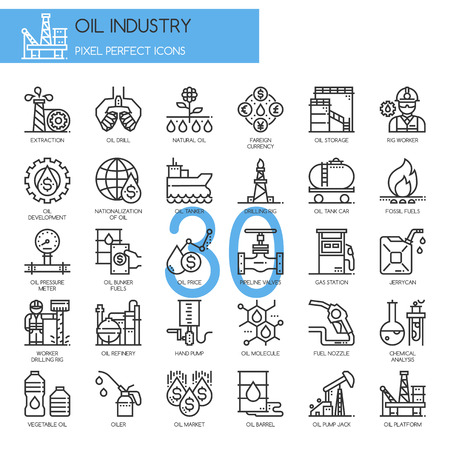 Oil Industry , thin line icons set , Pixel Perfect Icons Иллюстрация