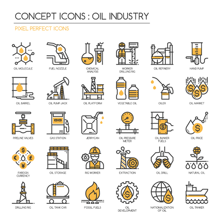 industry icons: Oil Industry , Thin Line and Pixel Perfect Icons Illustration