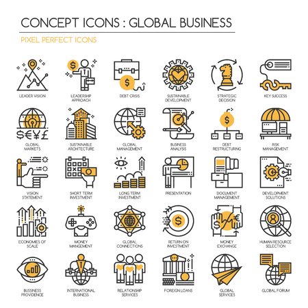 Global Business , Thin Line and Pixel Perfect Icons Vettoriali