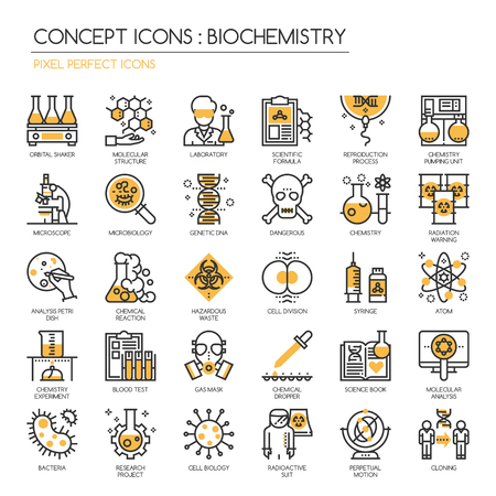 chemical reactions: Biochemistry Thin Line and Pixel Perfect Icons