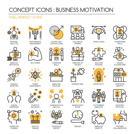 motivation d'affaires, Thin Line et Pixel Icons Parfait Vecteurs