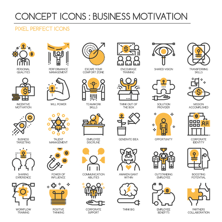 Business motivation, Thin Line and Pixel Perfect Icons
