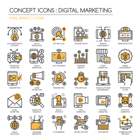 prioritizing: Digital marketing , Thin Line and Pixel Perfect Icons
