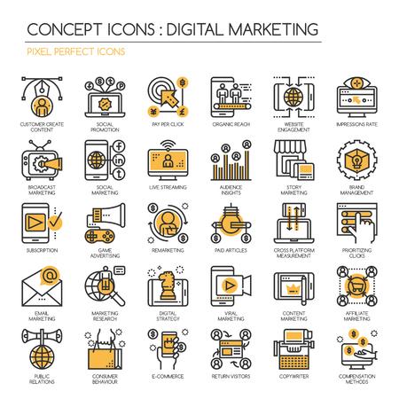 Digital marketing, Thin Line et Pixel Icons Parfait