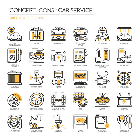 Car serviec, Thin Line en Pixel Perfect Pictogrammen