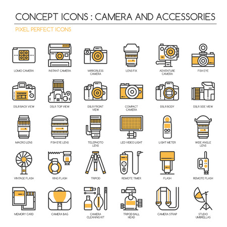 lomo: Camera and Accessories , Thin Line and Pixel Perfect Icons Illustration