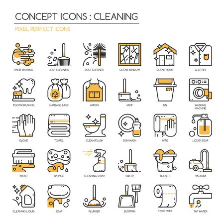 Nettoyage, Thin Line et Pixel Icons Parfait Vecteurs