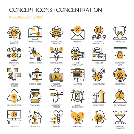 Concentration At Work , Thin Line and Pixel Perfect Icons
