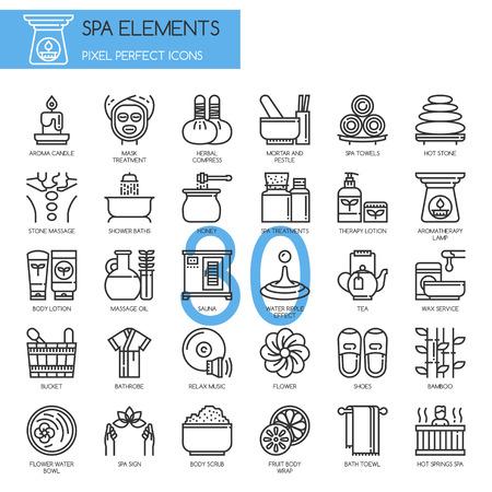 éléments de Spa, Thin Line et Pixel Icons Parfait Vecteurs