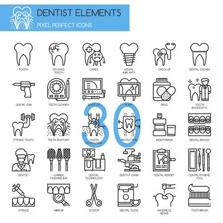 elementos de dentista, Thin Line y Pixel Perfect Iconos