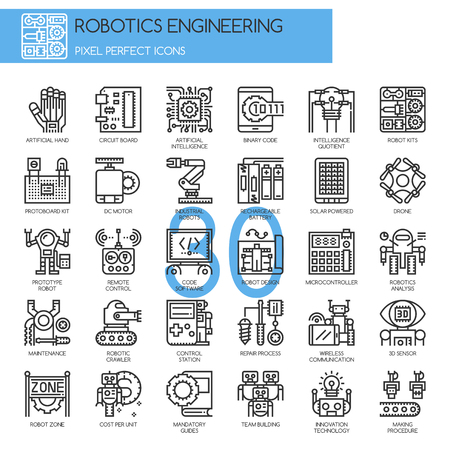 microcontroller: Robotics engineering , Thin Line and Pixel Perfect Icons Illustration