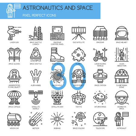 roving: Astronautics and space , Thin Line and Pixel Perfect Icons Illustration