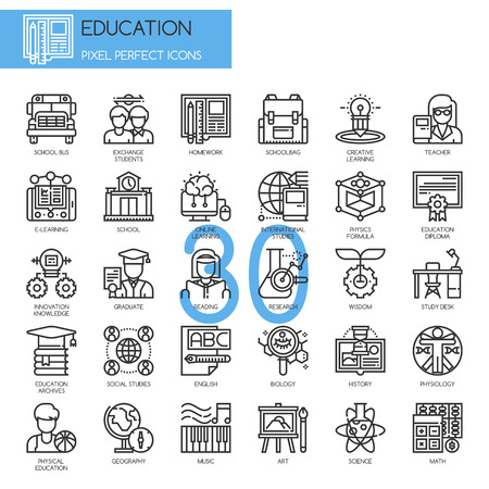Education , Thin Line and Pixel Perfect Icons Ilustrace