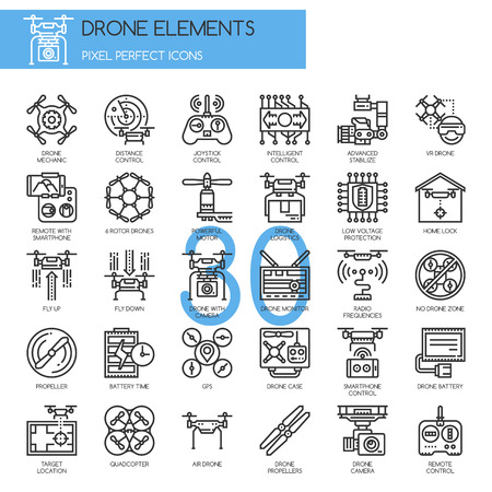 Drone Elements , Thin Line and Pixel Perfect Icons