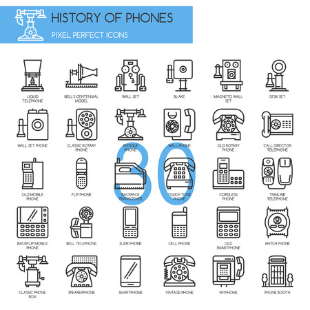 flip phone: History of Phones , Thin Line and Pixel Perfect Icons Illustration