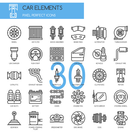 exhaust pipe: Car Elements , Thin Line and Pixel Perfect Icons