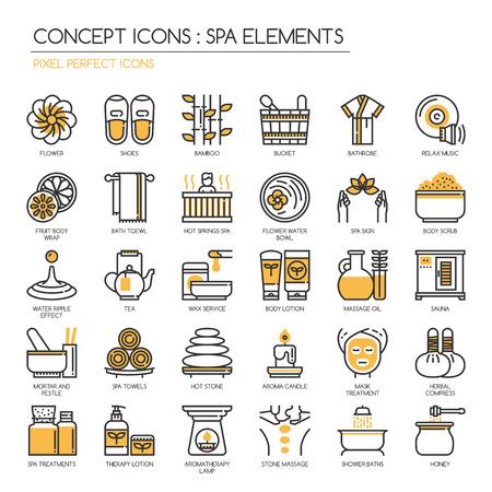 Elementos del balneario, Thin Line y Pixel Perfect Iconos Ilustración de vector