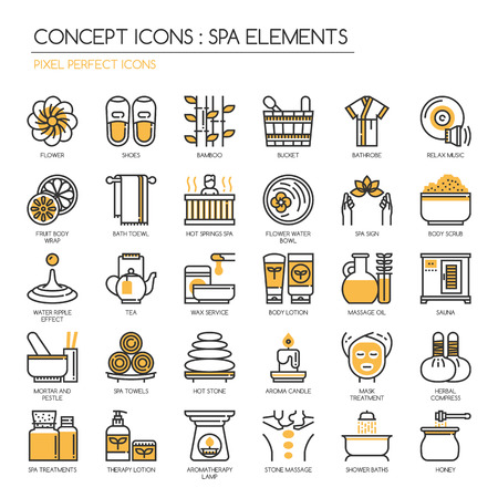compress: Spa elements , Thin Line and Pixel Perfect Icons Illustration