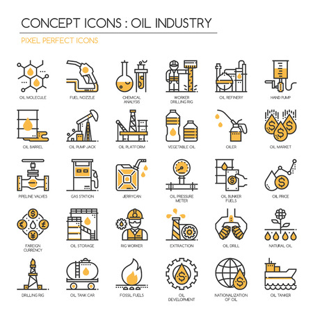 industry icons: Oil Industry , thin line icons set , Pixel Perfect Icons Illustration