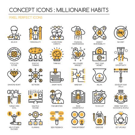 millonario: Hábitos millonarias, la línea delgada y Pixel Perfect Iconos Vectores