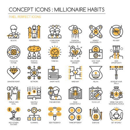 Millionaire Habits , Thin Line and Pixel Perfect Icons