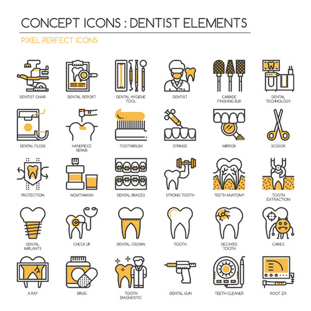 decayed: Dentist elements , Thin Line and Pixel Perfect Icons
