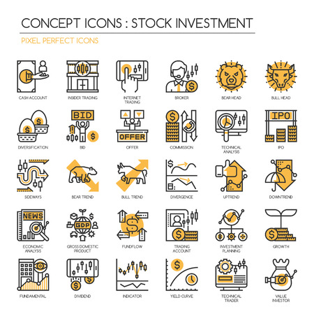 icons: Stock Investment , Thin Line and Pixel Perfect Icons