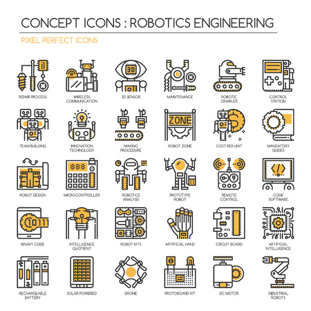motors: Robotics engineering , Thin Line and Pixel Perfect Icons Illustration