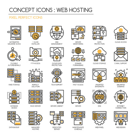 domain: Web hosting , Thin Line and Pixel Perfect Icons
