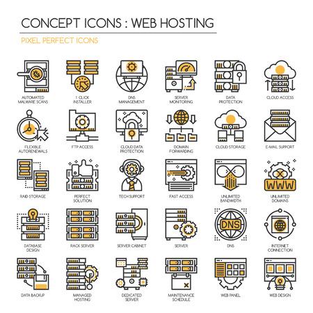 Web hosting, sottile linea e Pixel Perfect Icone