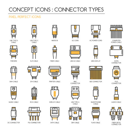 Connector Types, Thin Line en Pixel Perfect Pictogrammen Stock Illustratie