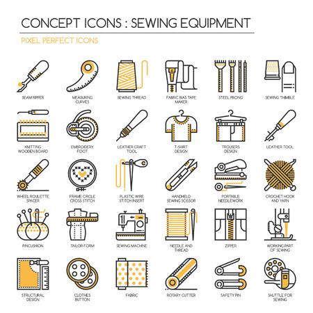 Nähen Ausrüstung, Thin Line und Pixel Perfect Icons Vektorgrafik
