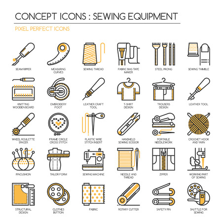 leather pants: Sewing Equipment , Thin Line and Pixel Perfect Icons Illustration
