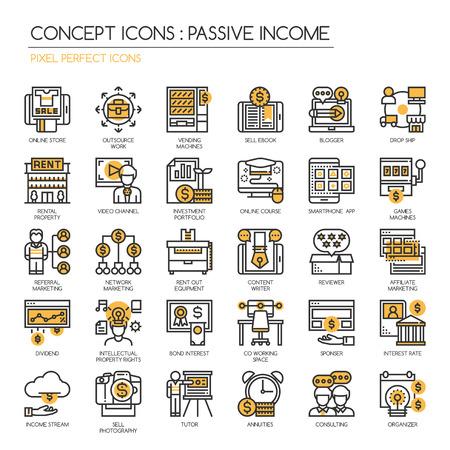 ingresos: Oportunidades de ingresos pasivos, la línea delgada y Pixel Perfect Iconos