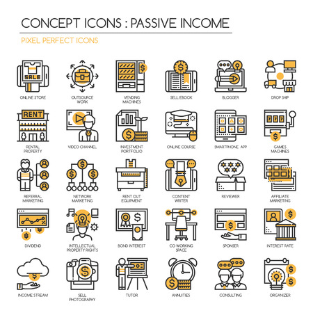 Passive Income Opportunities , Thin Line and Pixel Perfect Icons