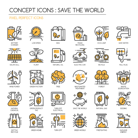waste products: Save the world , thin line icons set , Pixel Perfect Icons Illustration