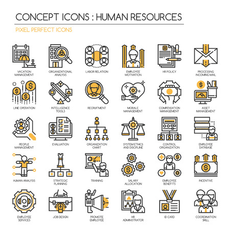 Human Resources, Thin Line en Pixel Perfect Pictogrammen