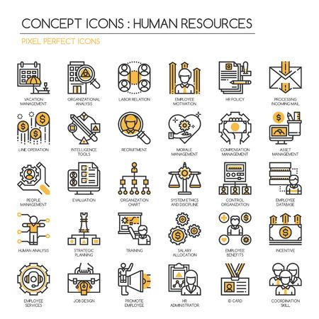 relaciones laborales: Recursos Humanos, la línea delgada y Pixel Perfect Iconos