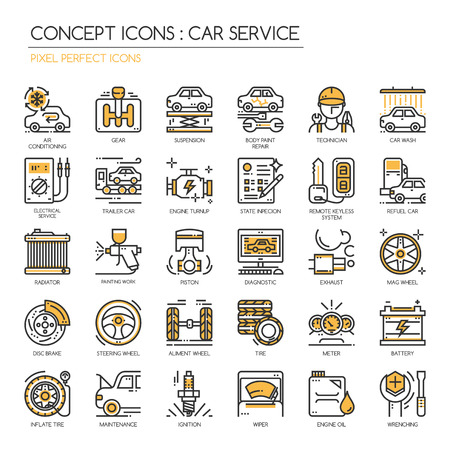 mag: Car serviec , thin line icons set , Pixel Perfect Icons Illustration