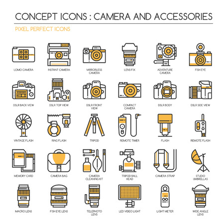 lomo: Camera and Accessories Icon, Thin Line Icons Set , Pixel Perfect Icons