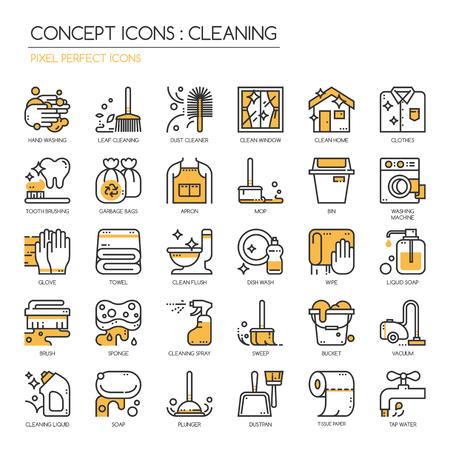 Reiniging, dunne lijn iconen set, Pixel Perfect Icons Vector Illustratie