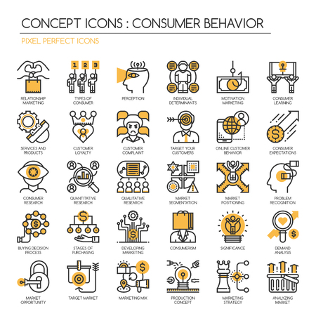 aprendizaje: El comportamiento del consumidor, la línea delgada y Pixel Perfect Iconos