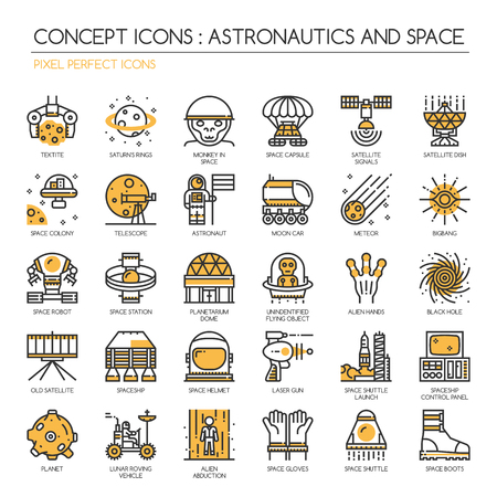 astronautics: Astronautics and space , Thin Line and Pixel Perfect Icons Illustration