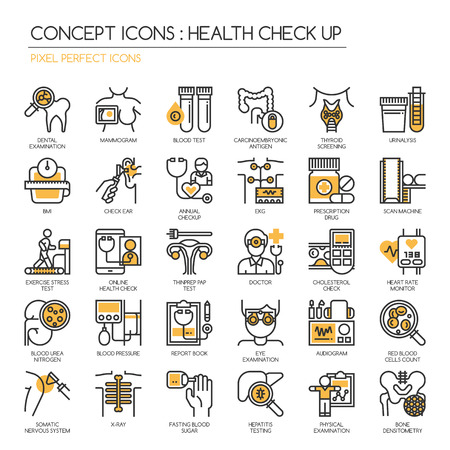 cancer screening: Health Check up , Thin Line and Pixel Perfect Icons Illustration