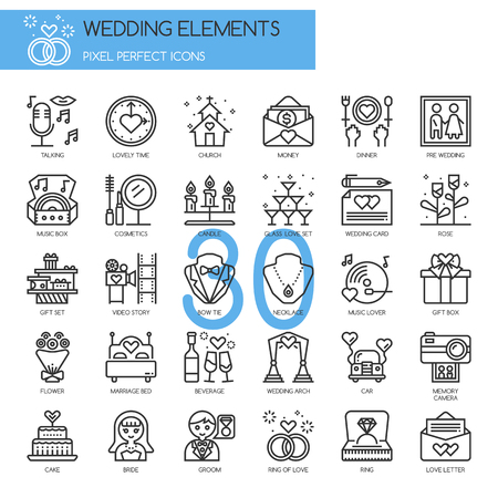 marriage bed: Wedding Elements , Thin Line and Pixel Perfect Icons Illustration