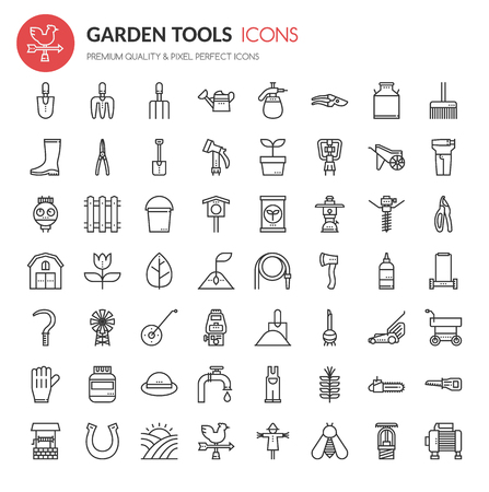pushcart: Garden Tool Icons , Thin Line and Pixel Perfect Icons